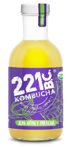 Jun Honey Matcha flavored kombucha